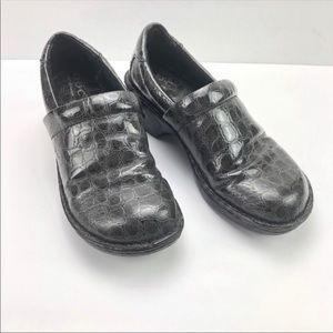 BOC Peggy Shoes Clog Alligator Gray Wedge 7.5